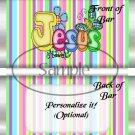 Jesus Is Love Pastel Stripe ~ Standard 1.55 oz Candy Bar Wrapper  SOE