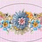 Pink Gingham Blue Floral  ~  Pint Glass Jar