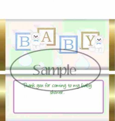 Blue Brown Baby Blocks Thank You For Coming Baby Shower Standard