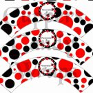 Red & Black Polka Dot Floral Ladybug ~ Cupcake Wrappers ~ Set of 1 Dozen