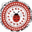 White on Black Damask Ladybug  ~  Cupcake Pick & Toppers ~ Set of 1 Dozen