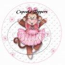 Pink Ballerina Monkey Birthday ~  Cupcake Pick & Toppers ~ Set of 1 Dozen
