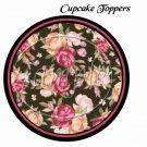 Pink Roses on Black Background  ~  Cupcake Pick & Toppers ~ Set of 1 Dozen