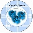Blue Rose Plaid Floral ~  Cupcake Pick & Toppers ~ Set of 1 Dozen