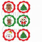 Christmas Assortment  ~  Cupcake Pick & Toppers ~ Set of 1 Dozen