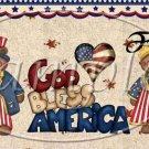 God Bless America Bears ~  Pint Glass Jar