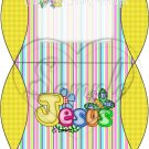 Jesus is Love Stripe with Yellow ~ Personalizable Pillow Treat Gift Box