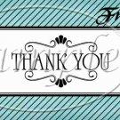 Aqua Stripe Thank You ~ Pint Glass Jar