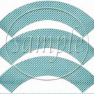 Aqua Stripe Thank You ~ Cupcake Wrapper ~ Set of 1 Dozen