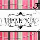 Pink Stripe Thank You ~ Pint Glass Jar