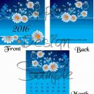 Daisies on a Field of Blue Black Text ~ 12 Month CD Case Calendar 2017