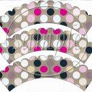 Tan Background Black & Pink Polka Dots Thank You ~ Cupcake Wrapper ~ Set of 1 Dozen