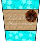 Teal Brown Ribbon ~  Gift Card Holder Latte` Cup