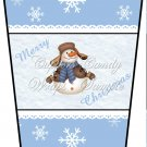 Merry Christmas Blue ~  Gift Card Holder Latte` Cup