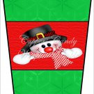 Snowman with Red Checkered Scarf ~ Gift Card Holder Latte` Cup