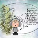 "Wishing You a Merry Christmas Caroler  ~ Horziontal ~ 6"" X 8"" Foil Pan Lid Cover"