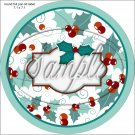 """Blank Personalize it! ~ Christmas ~ Aqua Holly ~ 7"""" Round Foil Pan Lid Cover"""