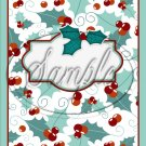 """Blank Personalize it! ~Christmas ~ Aqua Holly ~ Vertical  ~ 6"""" X 8"""" Foil Pan Lid Cover"""