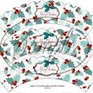 Merry Christmas ~ Aqua Holly ~  Scalloped Cupcake Wrappers ~ Set of 1 Dozen