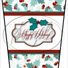 Happy Holidays White Text Box ~ Christmas ~ Aqua Holly ~ Gift Card Holder Latte` Cup