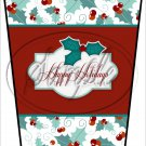 Happy Holidays Red Text Box ~ Christmas ~ Aqua Holly ~ Gift Card Holder Latte` Cup