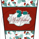 Merry Christmas Red Text Box ~ Aqua Holly ~ Gift Card Holder Latte` Cup