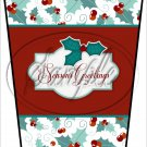 Seasons Greetings Red Text Box ~ Christmas  ~ Aqua Holly ~ Gift Card Holder Latte` Cup