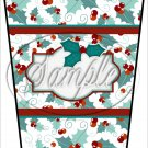 Personalize It! Text Box ~ Christmas ~ Aqua Holly ~ Gift Card Holder Latte` Cup