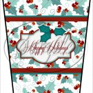 Happy Holidays Text Box ~ Christmas ~ Aqua Holly ~ Gift Card Holder Latte` Cup