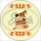 "Fall Straw Bale ~ 7"" Round Foil Pan Lid Cover"
