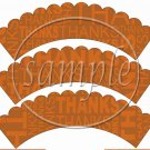 Day of Thanks Thanksgiving #2 ~  Scalloped Cupcake Wrappers ~ Set of 1 Dozen