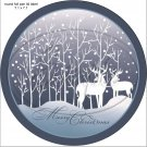 """Deer Silhouette ~ Merry Christmas ~ 7"""" Round Foil Pan Lid Cover"""