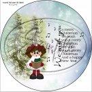 "Christmas Caroler Girl ~ 7"" Round Foil Pan Lid Cover"