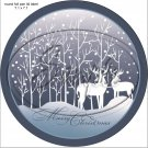 """Deer Silhouette Merry Christmas ~ 7"""" Round Foil Pan Lid Cover"""