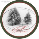 """Deer Silhouette Merry Christmas Lane ~ 7"""" Round Foil Pan Lid Cover"""