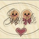 "Gingerbread Couple Face Tan ~ Christmas ~ Horizontal  ~ 6"" X 8"" Foil Pan Lid Cover"