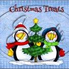 "Christmas Treats Blue Penguins  ~ Horizontal  ~ 6"" X 8"" Foil Pan Lid Cover"