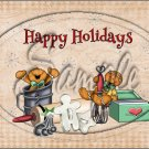 "Happy Holidays Tan Gingerbread Men ~ Christmas  ~ Horizontal  ~ 6"" X 8"" Foil Pan Lid Cover"