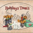 "Holiday Treats Tan Gingerbread Men  ~ Horizontal  ~ 6"" X 8"" Foil Pan Lid Cover"