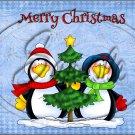 "Merry Christmas Blue Penguins  ~ Horizontal  ~ 6"" X 8"" Foil Pan Lid Cover"