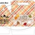Happy Thanksgiving Pilgrims, Indian & Turkey ~ Gable Gift or Snack Box