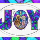 "Joy Stained Glass ~ Christmas  ~ Horizontal  ~ 6"" X 8"" Foil Pan Lid Cover"