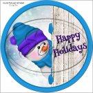 Happy Holidays Peeking Snowman Purple Blue Hat 2 ~ Pencil, Straw or Candy Cane Sliders ~ Set of 12