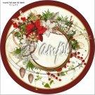 "Poinsettia Wreath Blank ~ Christmas   ~ 7"" Round Foil Pan Lid Cover"