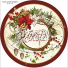"""Poinsettia Wreath Merry Christmas ~ 7"""" Round Foil Pan Lid Cover"""