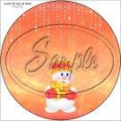 """Snowman Orange ~ Christmas   ~ 7"""" Round Foil Pan Lid Cover"""