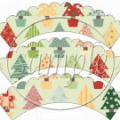 Christmas Trees  Scallopped ~ Cupcake Wrappers ~ Set of 1 Dozen