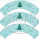 Auqa Snowflake Tree  ~ Cupcake Wrappers ~ Set of 1 Dozen
