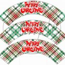 Red & Green Plaid Merry Christmas  ~ Cupcake Wrappers ~ Set of 1 Doze