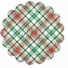 Red & Green Plaid Blank Scalloped ~ Cupcake Toppers ~ Set of 1 Dozen